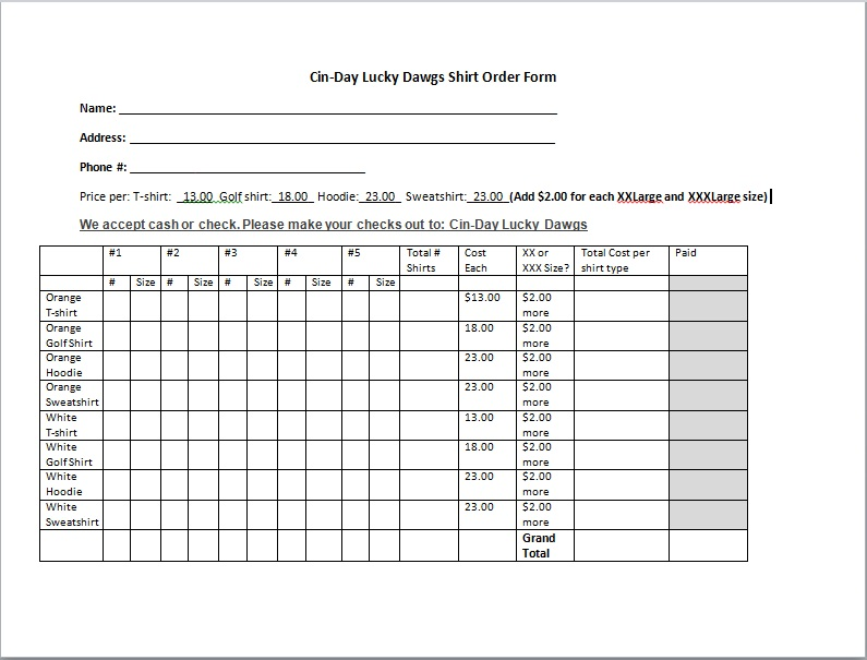 Printable Order Form Templates Custom T Shirt Order Form Template